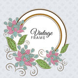 Concept of vintage frame with floral decoration. Royalty Free Stock Photography