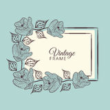 Concept of vintage frame with floral decoration. Stock Image