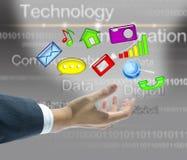 Concept virtuel de main d'homme d'affaires Photo stock
