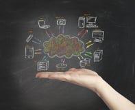 Concept virtuel de réseau de nuage Photos libres de droits