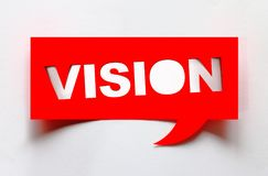 Concept of vision. Creative vision word cut from paper  on white background Royalty Free Stock Photos