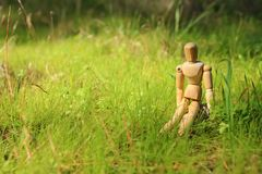 Concept of vision and different thinking. wooden dummy sitting over green grass looking forward. Concept of vision and different thinking. wooden dummy sitting stock image