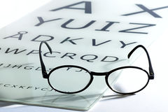 Concept of vision and eyesight. With an old vintage pair of spectacles or glasses on an optometrists chart with alphabet letters for testing acuity Royalty Free Stock Photo