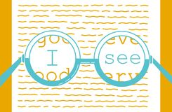 Concept of vision recovery. I see in the form of a point and a test for reading. Icon in the linear style Stock Images