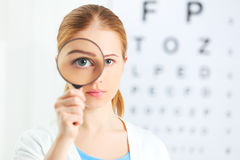 Concept vision testing. woman with a magnifying glass Royalty Free Stock Photo