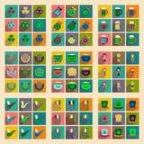Concept vlakke pictogrammen met lange schaduw St Patrick& x27; s Festival Stock Afbeelding