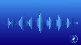 Concept of voice recognition. Sound wave with imitation of voice, sound and microphone icon. Stock Image
