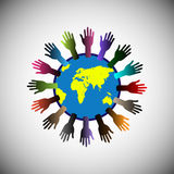 Concept of Volunteer Raising support all over the world. Royalty Free Stock Photos