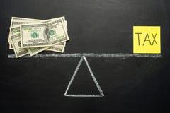 Concept voor balanssaldo, inkomstenbelasting, geld of belasting stock fotografie