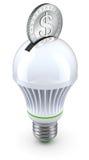 Concept voor energie - besparing met geleid bol en muntstuk Stock Afbeeldingen