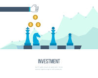 Concept voor investering, financieel srategy, beleggend, strategisch beheer Investeringszaken Stock Foto