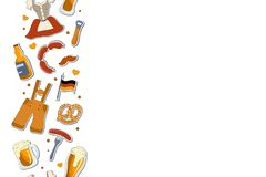 Concept voor meest oktoberfest prentbriefkaarontwerp Reeks van vectorillustratie met het van letters voorzien vector illustratie