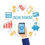 Concept voor mobiel bankwezen en online betaling Royalty-vrije Stock Fotografie