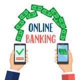 Concept voor mobiel bankwezen en online betaling Stock Foto