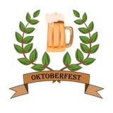 Concept voor Oktoberfest met een beeld van een bierglas op een geïsoleerde achtergrond Stock Foto