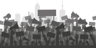 Concept voor protest, revolutie of conflict Silhouetmenigte van mensenprotesteerders stock illustratie