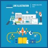 Concept voor startzaken en financiënstrategie Mobiele Marketing royalty-vrije illustratie