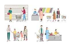 Concept voor supermarkt of winkel De reeks met koperskarakters bij het kasregister, dichtbij de rekken, woog goederen, mensen royalty-vrije illustratie
