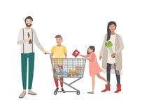 Concept voor supermarkt of winkel Gelukkige familie, mensen met boodschappenwagentje Kleurrijke vlakke vectorillustratie stock illustratie