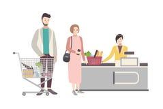 Concept voor supermarkt of winkel Illustratie met koperskarakters dichtbij het kasregister, mensen met boodschappenwagentje royalty-vrije illustratie