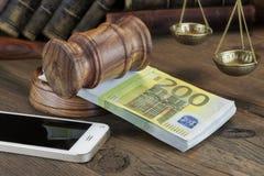 Concept voor Wet, Corruptie, Faillissement royalty-vrije stock foto's