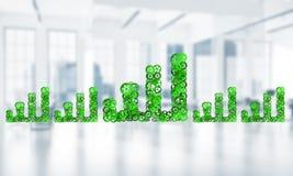 Concept vooruitgang en inkomen in zaken door pijl worden voorgesteld uit te gaan die Stock Afbeeldingen