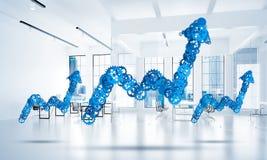 Concept vooruitgang en inkomen in zaken door uit te gaan worden voorgesteld die Stock Afbeelding