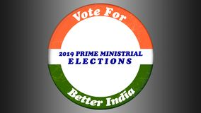 Concept of Vote for Better India in button badge for 2019 Indian general elections.  stock illustration