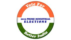 Concept of Vote for Better India in button badge for 2019 Indian general elections.  royalty free illustration