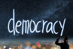 Concept of vote. Election, democracy, silhouette of asian business woman light drawing royalty free stock photos