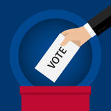 Concept of voting. Hand putting voting paper in the ballot box. Flat design, vector illustration Stock Photography
