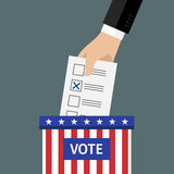 Concept of voting. Hand putting voting paper in the ballot box. Flat design, vector illustration Royalty Free Stock Photo