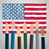 Concept of voting. Hands raised up, election day campaign. Flat design, vector illustration Stock Photography