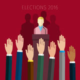 Concept of voting. Hands raised up, election day campaign. Flat design, vector illustration Stock Photo