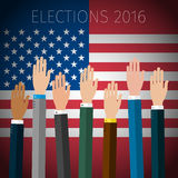 Concept of voting. Hands raised up, election day campaign. US Presidential election 2016. Flat design, vector illustration Royalty Free Stock Photos
