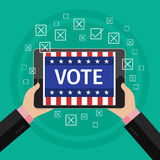 Concept of voting. Man hold tablet with vote on elections. Symbols of vote. Flat design, vector illustration Stock Photography