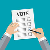 Concept of voting. Man write vote on elections. Flat design, vector illustration Royalty Free Stock Photography