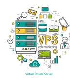 Concept VPS - Virtuele Privé Server Stock Afbeelding