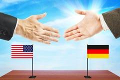 Concept vriendschappelijke besprekingen tussen Duitsland en Verenigde Staten stock fotografie