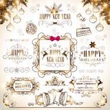 Concept Vrolijke Kerstmis en Nieuwjaarkalligrafie en typograp Stock Afbeelding