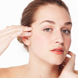 Concept vrouwelijke schoonheid en eyecare voor het natuurlijke vertroetelen Royalty-vrije Stock Fotografie
