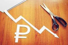 Concept waardevermindering van de roebel Stock Fotografie