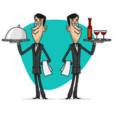 Concept waiters holds trays Stock Images