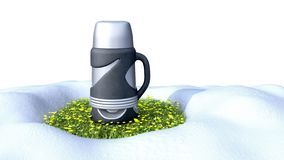 Concept of warm mugs Thermomug standing on the grass to melt the. Snow 3d render on royalty free illustration