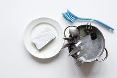Concept of washing dishes on white background top view Royalty Free Stock Photography