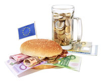 Concept of waste and consumerism. Sandwich Royalty Free Stock Images