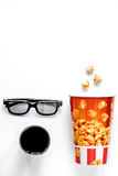 Concept of watching movies with popcorn top view white backgroun Royalty Free Stock Photo