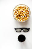 Concept of watching movies with popcorn top view white background Royalty Free Stock Photography