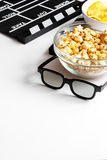 Concept of watching movies with popcorn white background Stock Photos