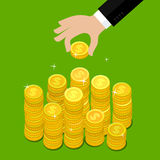 Concept of wealth. Hand put coin to money staircase. Flat design, vector illustration vector illustration